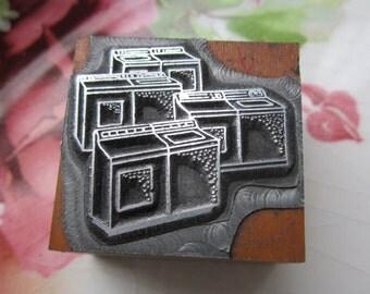 Washers and Dryer Vintage Letterpress Printers Block