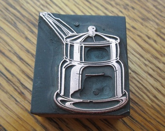 Double Boiler Antique Letterpress Printers Block