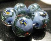 Lampwork glass bead set, Rock pools