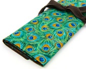 Large Knitting Needle Case - Royal Peacocks - 30 brown pockets for straight, circular, double point needles or paint brushes