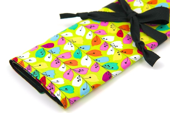 Knitting Needle Case - Floralicious - IN STOCK 30 black pockets for circular, straight, dpns