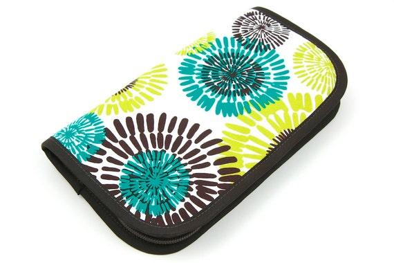 Travel Zip Around Knitting Needle Organizer - Cote Dazur - brown pockets see-thru notions zipper pouch