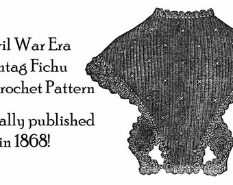 1868 Civil War Sontag Tricot Crochet Tunisian Crossover Hug-me-tight Bosom Buddy Historical Reenactment