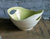 Carved Porcelain Bowl in Lime