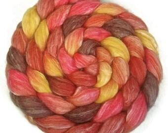 Handpainted Merino Bamboo Silk Roving - 4 oz. TIGER LILY - Spinning Fiber
