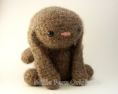 Felted Wool Bunny Plush - Mocha