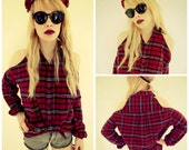 Reconstructed Flannel Cut Out Shoulder Top S/M