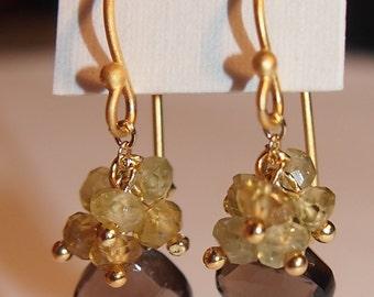 Satya Jewelry Smokey Topaz and Green Garnet Drop Earrings, Original 24K Gold Vermeil over Sterling Silver, NIB