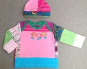 Upcycled baby girls T-shirt and hat set size 0 up to 2 months