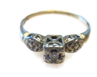 Dainty Vintage 14 kt Gold and Diamond Ring from the 1960's Includes Certified Appraisal