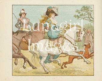 Victorian CHILDREN'S BOOKS, CD or download, Nursery Rhymes, Vintage Images, Caldecott Art Illustrations, Antique Pictures animals fantasy