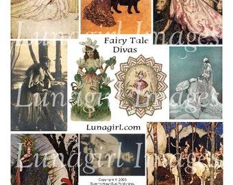 FAIRY TALE DIVAS digital collage sheet, Download vintage images, Victorian art fantasy storybook illustration girls women altered ephemera