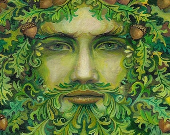 Oak King Green Man Pagan God 8x10 Giclée Print on Canvas Pagan Bohemian Mythology Goddess Art