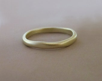 14k Green Gold Wedding Ring - Matte Finish - 2 mm - River - READY TO SHIP - Size 6