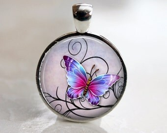 Mystical Butterfly Pendant, Necklace or Key Chain in Choice of 4 Colors - 1 Inch Round