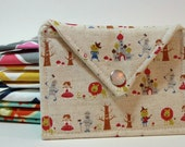 READY to SHIP -  Wizard of Oz Japanese Import  Fabric Mini Envelope Clutch- Perfect to Give Gift Cards, Business Card pouch, mini wallet