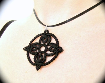 Tatted Lace Pendant  - Circle Medallion - Choose Your Color