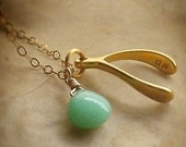 Make a Wish Necklace with Peppermint Green Chrysoprase on Gold-Filled Chain - Lucky Charm, Good Luck Jewelry, Green Stone Necklace