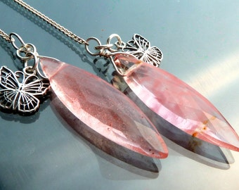 5 inches Long Butterfly n Cherry Quartz faceted briolettes red in sterling silver shoulder duster earrings daggers long
