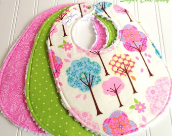 Baby Bibs for Baby Girl -  Set of 3 Triple Layer Chenille -  Pretty Little Things Trees, Apple Green Dots & Pink Paisley