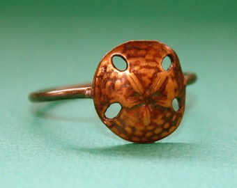 Sand Dollar Ring brass charm and sterling silver band