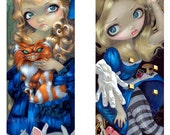 Alice Enchanted and Alice Down a Dali Rabbit Hole set of TWO BIG art prints by Jasmine Becket-Griffith SIGNED wonderland cheshire cat