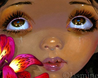 Faces of Faery 206 lily flower angel big eye fairy face art print by Jasmine Becket-Griffith 6x6
