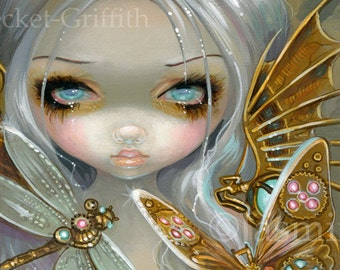 Faces of Faery 208 steampunk butterfly dragonfly big eye fairy face art print by Jasmine Becket-Griffith 6x6