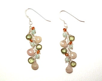 Sidonie - White sapphire, green apatite, blue calcite, and orange sapphire earrings