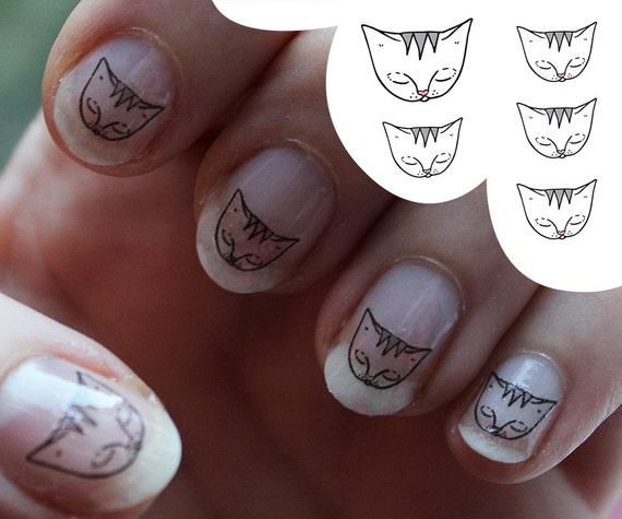 Cat Nail decals -  Water Transfer Nail Sticker - nail art - cat face