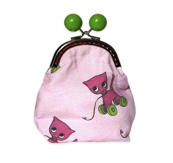 Cat Purse - Pink Cat with pink wheels retro toy - metal frame purse - Green bobble clasp - large