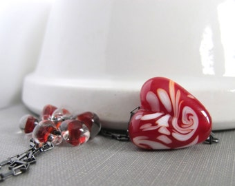 Fire Red Necklace, Red Love Heart, Red Glass Necklace, Silver Necklace, Silver Chain, Oxidized Silver, Sterling Silver, Lampwork Glass,