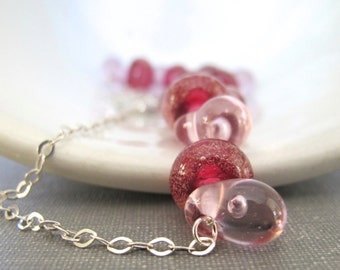 Silver Necklace, Pink Gold Glass, Pink Glass Necklace, Silver Chain, Sterling Silver, Bubble Glass, Silver Jewelry, Pink Lampwork Glass