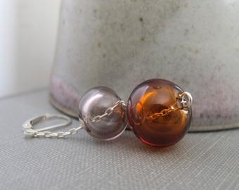 Blown Glass Earrings, Topaz Brown Glass, Sepia Glass, Topaz Hollow Glass, Sepia Hollow Glass, Silver Earrings, Glass Jewelry,