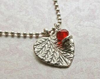 HILL TRIBE Silver Carnelian Leaf Charm Necklace