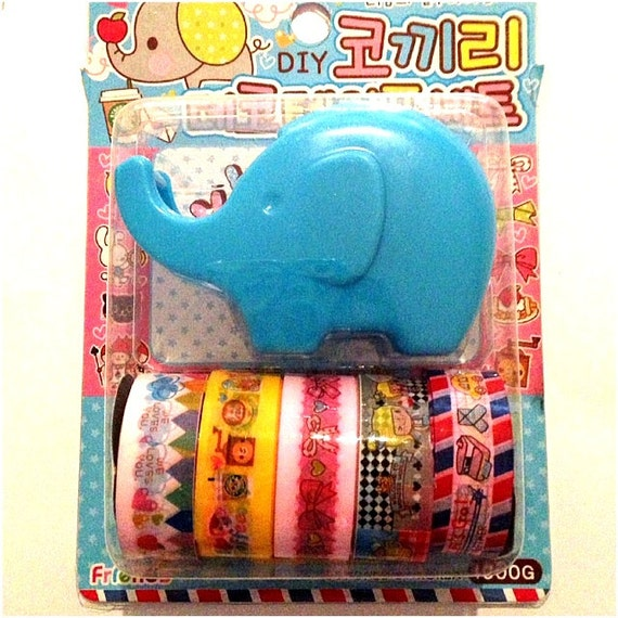RAEWADOLLY 5 Kawaii Deco Tape with Tape Dispenser Elephant Design, Set2