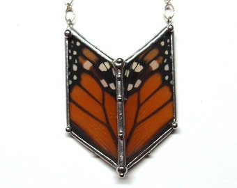Monarch Butterfly Chevron Necklace - Real Butterfly Wings