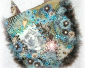 Cat Purse Embroidered Crazy Quilt Beaded Kitty Handbag