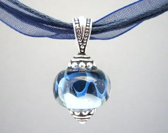 Dark Royal Blue and Light Blue Ribbon Necklace