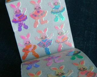 Bunny Ballerinas - Vintage 90s Sandylion Stickers - 4 panels