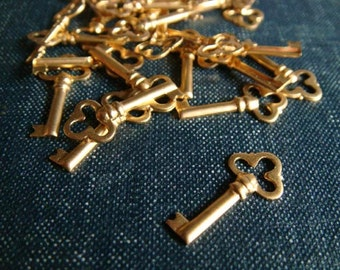 Little Trefoil Skeleton Key Stampings - Raw Brass - LAST 11pcs