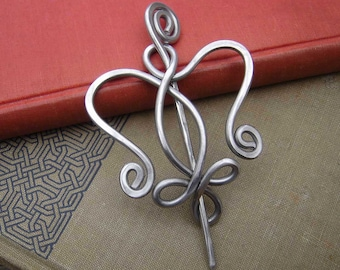 Aluminum Celtic Angel Heart Shawl Pin, Scarf Pin, Sweater Brooch, Light Weight, Celtic Knot Gift for Her, Knitting Women Fashion Accessories