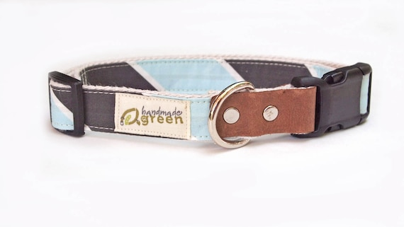 SALE. Blue and Black Stripe Hemp Dog Collar. LARGE.