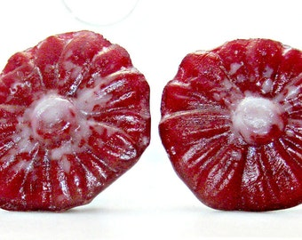 Fused Glass Knobs / Glass Drawer Pulls / Red and White Flower Set of Two