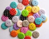 Medium Polka Dot Buttons - MIXED BAG of 50