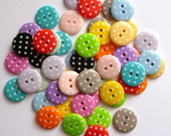 Medium Polka Dot Buttons - MIXED BAG of 50