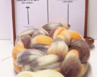 Double Spindle Drop Spindle Yarn Spinning Kit Colorway, Calico Kitty,With Both Top &Bottom Whorl