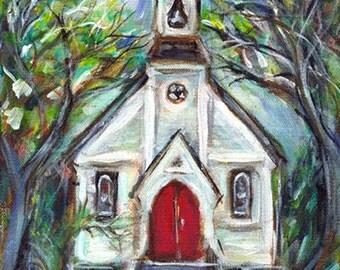 Little cute whimsical church chapel 8 x 10 original painting