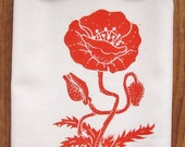 NEW organic poppy block print tea towel