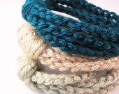 AUTUMN FALL Crochet Chain Cuff Bracelets - Set of 3 - Teal, Sand and Frosty Green - Made To Order - pulpsushi